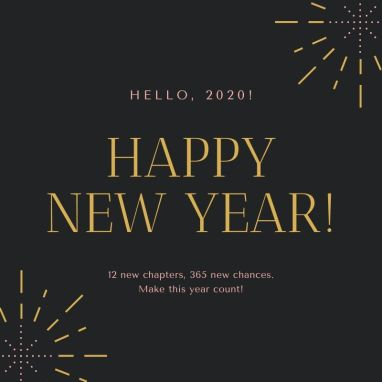 Pink & Gold Simple New Year Social Media Graphic